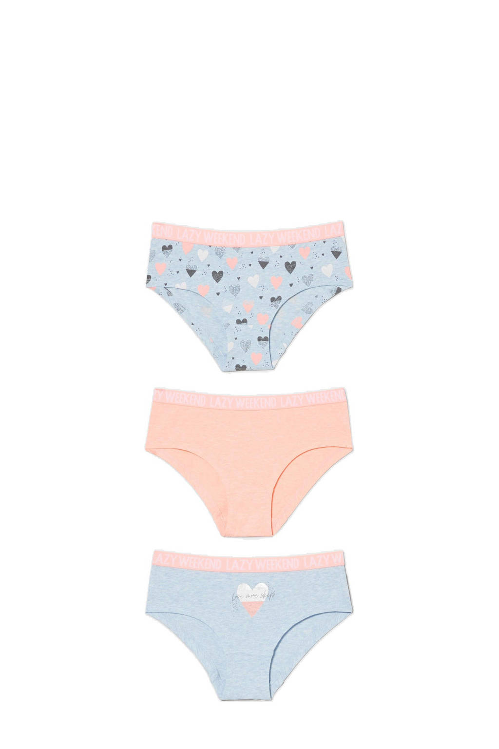 C&A Here & There slips - set van 3 lichtblauw/roze, Lichtblauw/roze