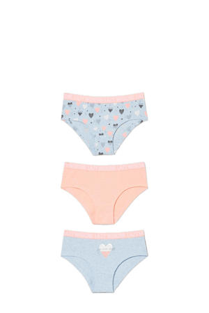 slips - set van 3 lichtblauw/roze
