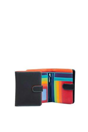 leren portemonnee Large zwart/multi