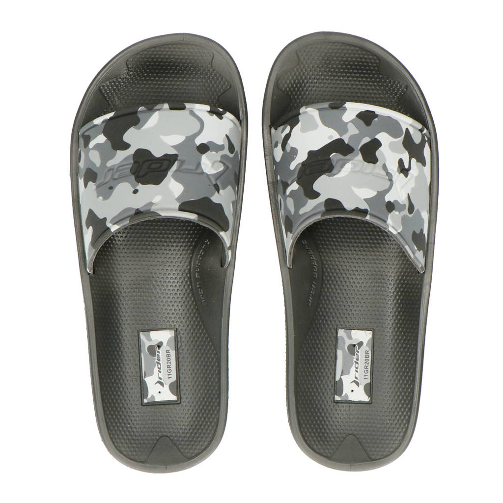 Rider   slippers zwart/grijs, Zwart/grijs