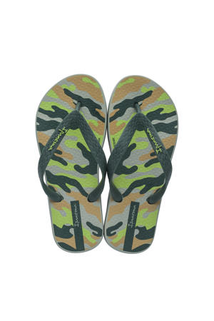 Classic Kids teenslippers met camouflage print kaki/groen