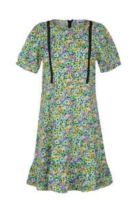 Jill & Mitch by Shoeby jurk Paradise met contrastbies en plooien mintgroen/paars/geel, Mintgroen/paars/geel