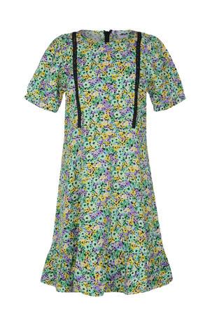 jurk Paradise met contrastbies en plooien mintgroen/paars/geel