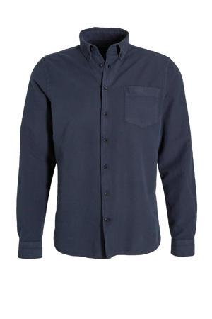 slim fit overhemd Robbins donkerblauw