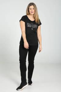 Paprika T-shirt met tekst en strass steentjes zwart/zilver, Zwart/zilver