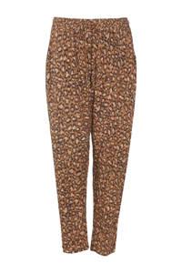 Paprika high waist tapered fit broek met all over print bruin, Bruin