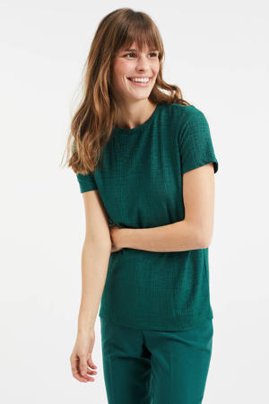 T-shirt met jacquard darker mint