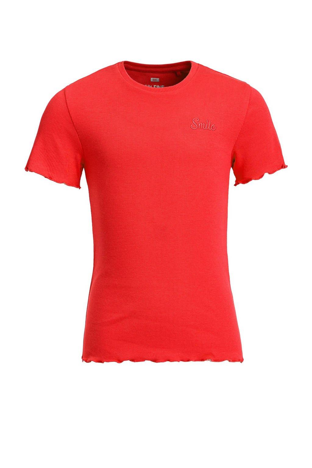 WE Fashion ribgebreid T-shirt met borduursels rood, Rood