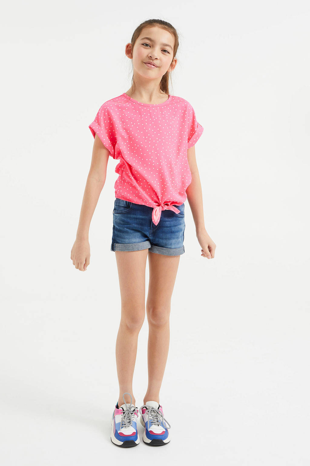 WE Fashion T-shirt met stippen roze/wit, Roze/wit