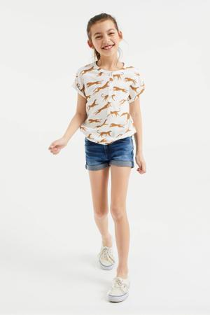 blouse met dierenprint wit/bruin