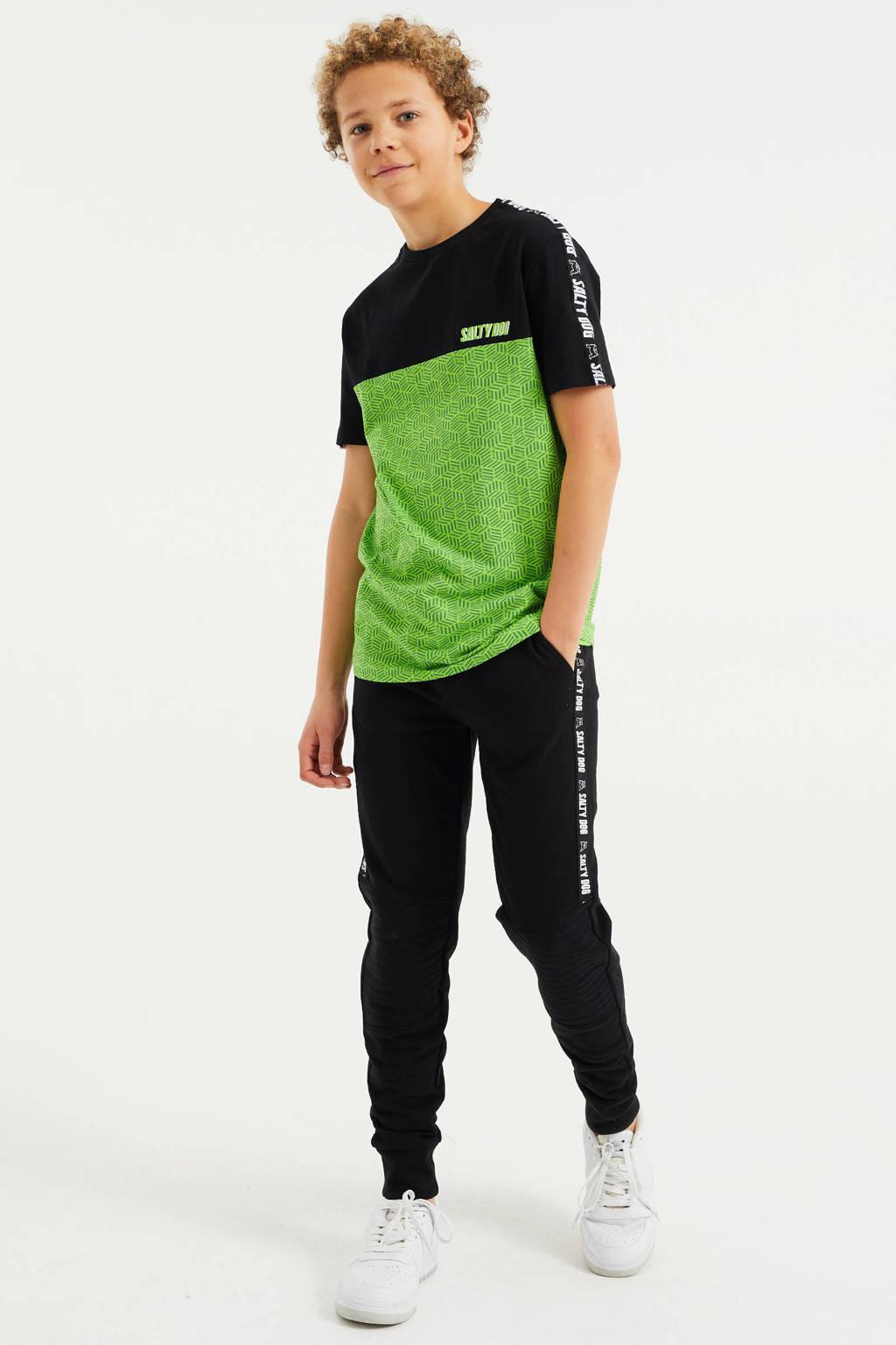 WE Fashion Salty Dog T-shirt met grafische print zwart/groen, Zwart/groen