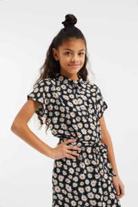 WE Fashion gebloemde blousejurk zwart/geel/wit, Zwart/geel/wit
