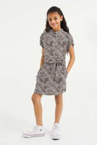 WE Fashion blousejurk met panterprint bruin/zwart.wit, Bruin/zwart.wit