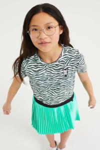 WE Fashion regular fit T-shirts - set van 2 mintgroen/zwart/wit, Mintgroen/wit/zwart