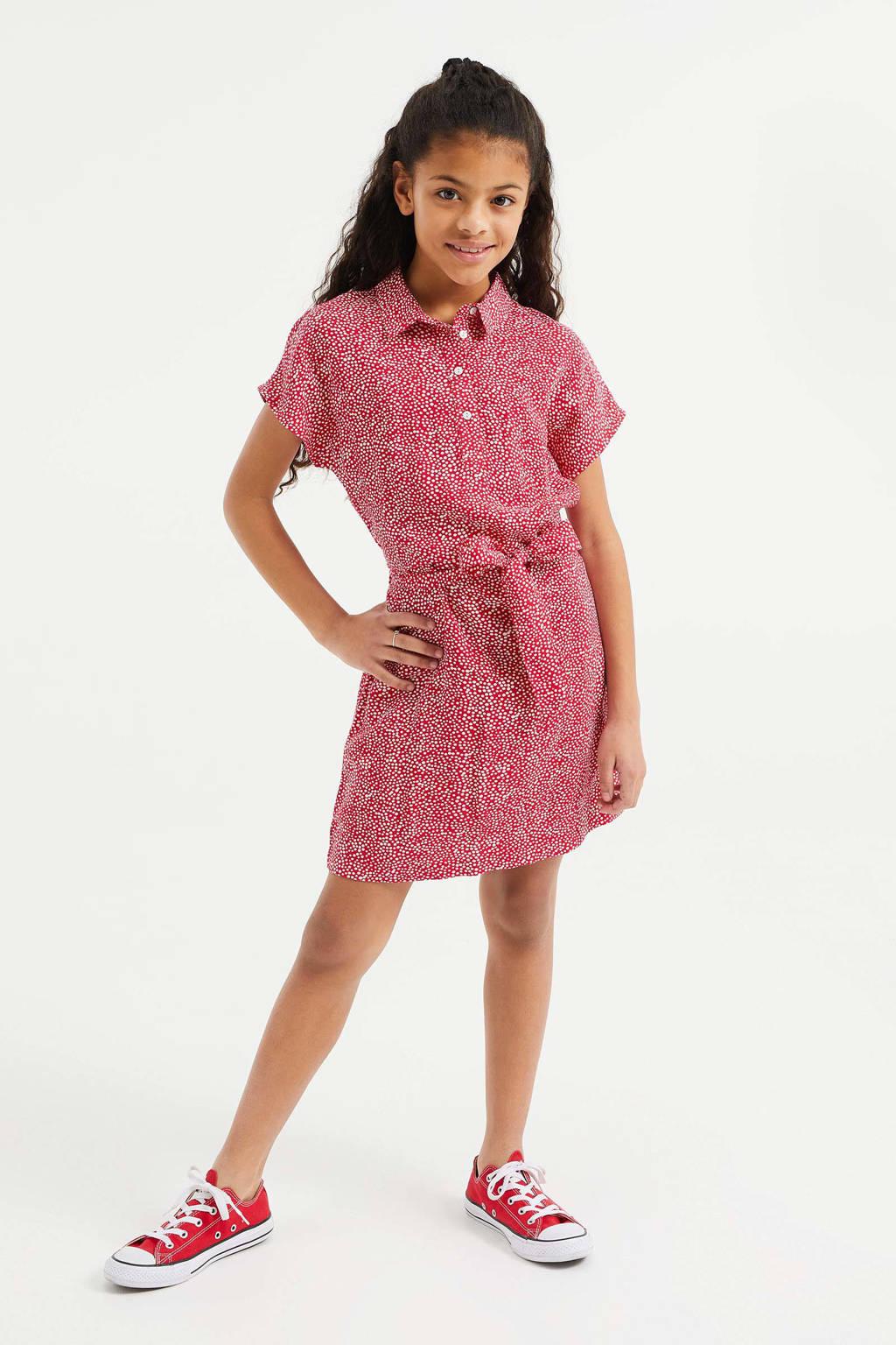 WE Fashion blousejurk met all over print en ceintuur rood, Rood