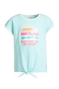 WE Fashion T-shirt met contrastbies en glitters mintgroen/roze, Mintgroen/roze