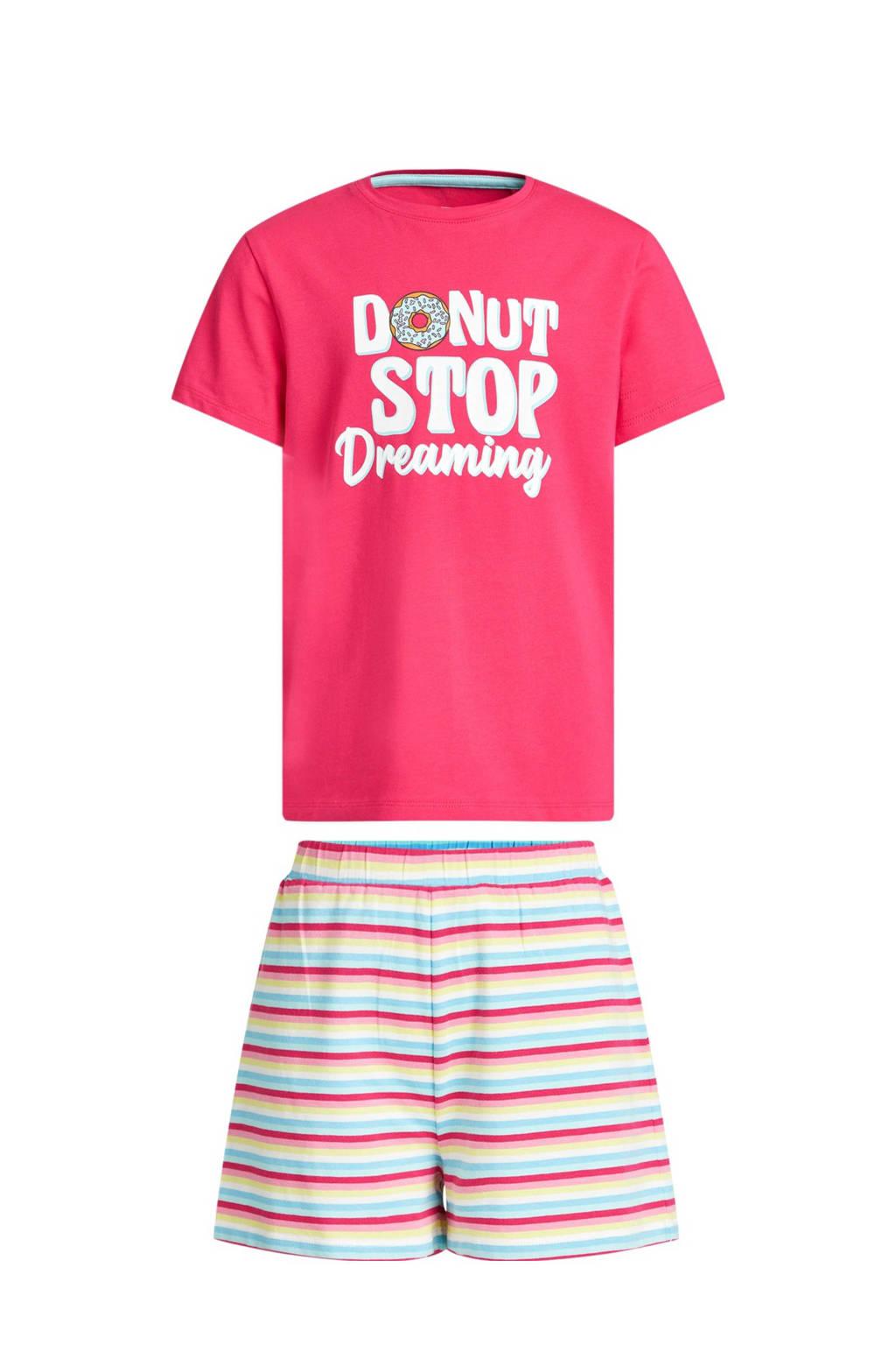 WE Fashion shortama met tekst roze/blauw, Roze/blauw