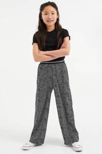 WE Fashion loose fit broek met stippen zwart/wit, Zwart/wit