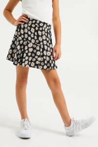 WE Fashion broekrokje bloemen zwart/geel/wit, Zwart/wit/geel