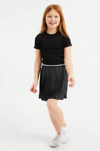 WE Fashion ribgebreid T-shirt met borduursels zwart, Zwart