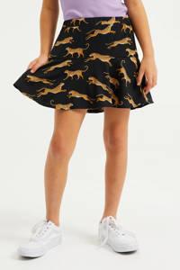 WE Fashion rok met dierenprint zwart/camel, Zwart/camel