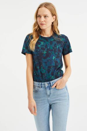T-shirt van biologisch katoen blauw/groen