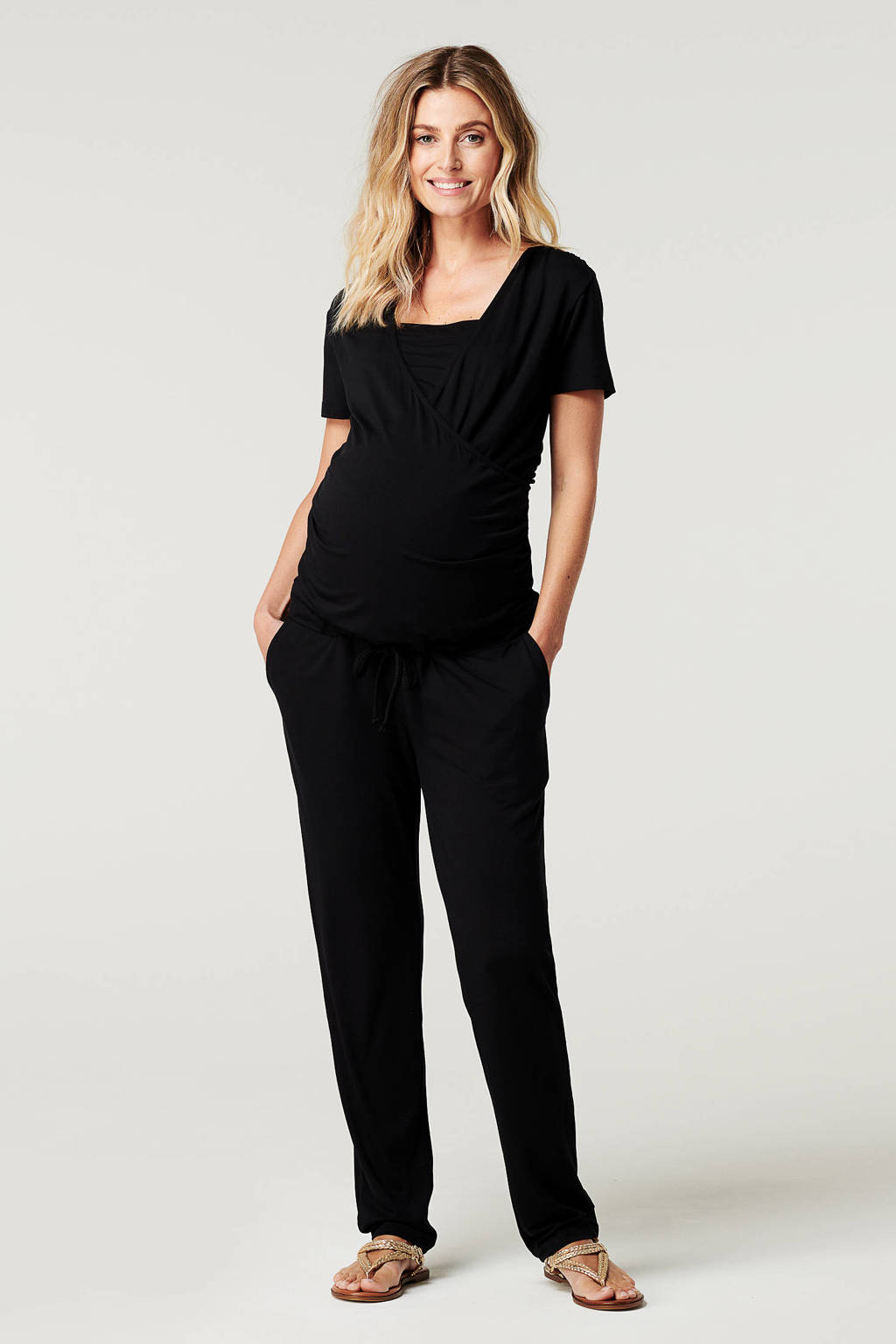Noppies zwangerschaps- en voedingjumpsuit Elma zwart, Zwart