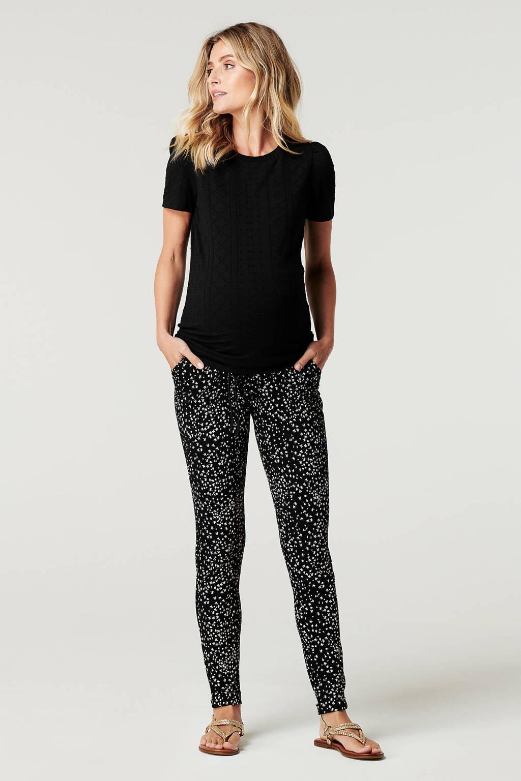 Noppies low waist regular fit zwangerschapsjoggingbroek Everett met all over print zwart/wit, Zwart/wit