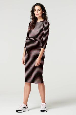 gestreepte zwangerschapsjurk zwart/roze