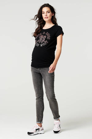 zwangerschapstop Rock met printopdruk zwart