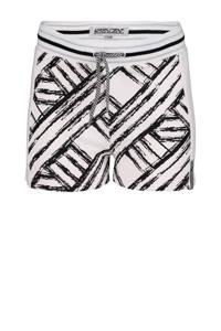 4PRESIDENT regular fit sweatshort Kassi met grafische print wit/zwart/zilver, Wit/Zwart/Zilver