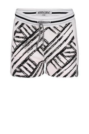regular fit sweatshort Kassi met grafische print wit/zwart/zilver