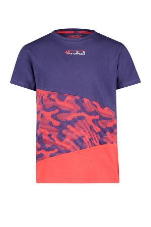 T-shirt Rory met tekst donkerblauw/rood