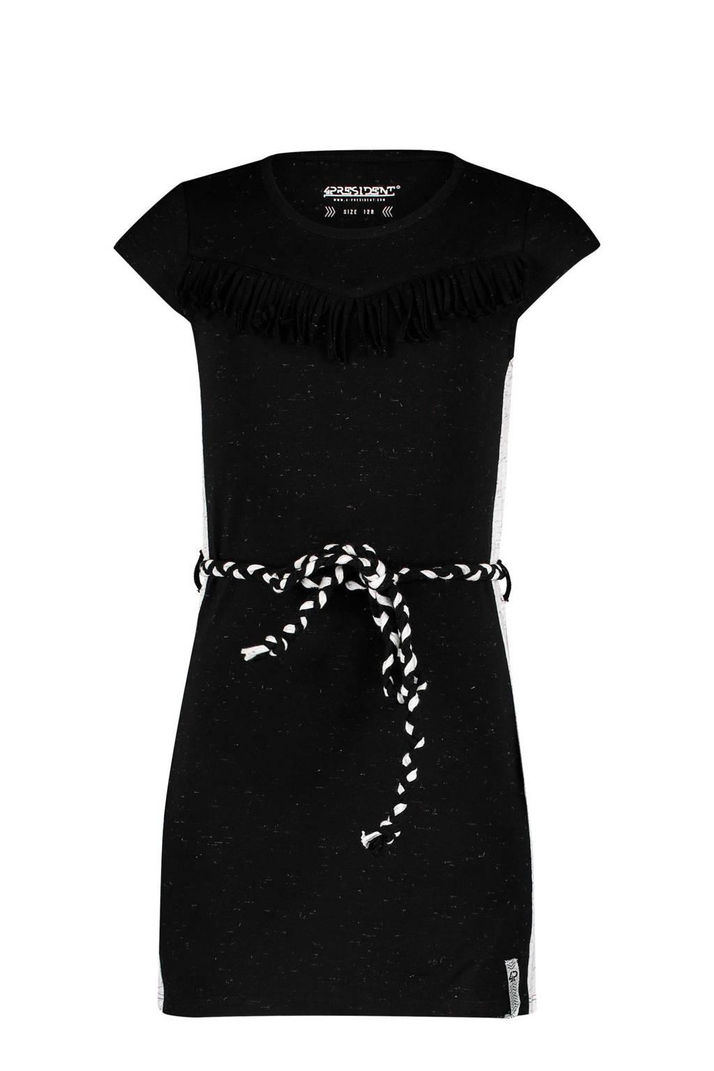 4PRESIDENT jurk Karsyn met contrastbies en ceintuur zwart/wit, Zwart/wit