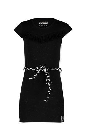 jurk Karsyn met contrastbies en ceintuur zwart/wit