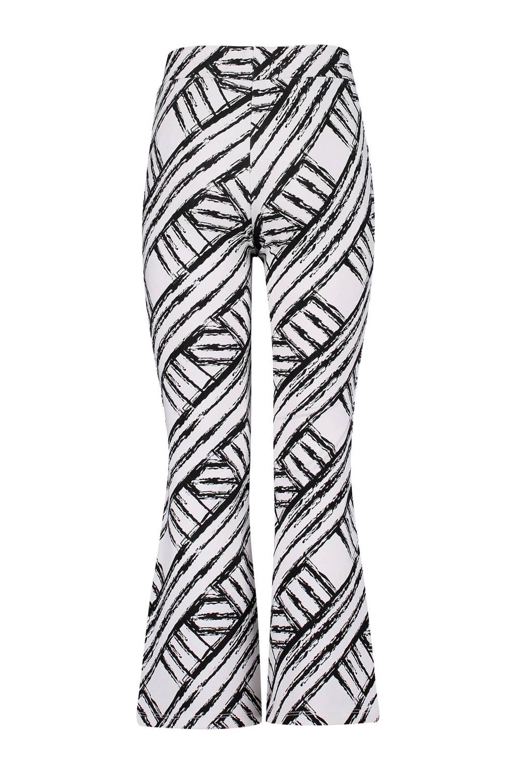 4PRESIDENT flared broek Karissa met grafische print wit/zwart, Wit/zwart