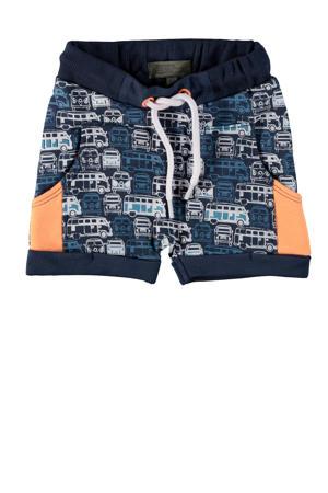 baby regular fit sweatshort Ari met all over print donkerblauw/blauw
