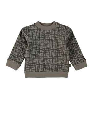 baby sweater Leslie met all over print taupe/antraciet