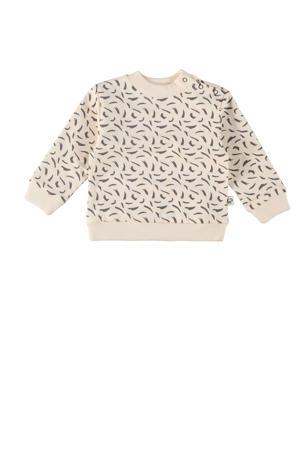 baby sweater Leslie met all over print ecru/antraciet