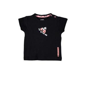 baby T-shirt Kaja met tekst zwart/roze/wit
