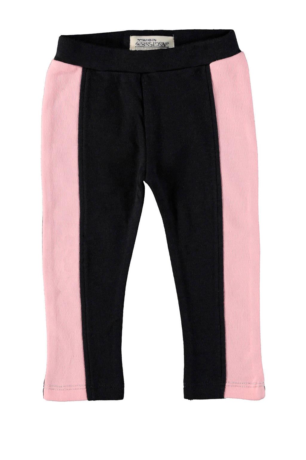 4PRESIDENT baby legging Josie met zijstreep zwart/roze, Zwart/roze