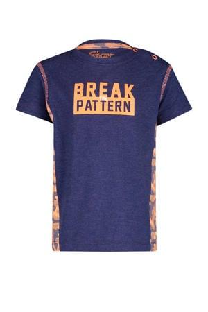 T-shirt Kyrie met tekst donkerblauw/oranje