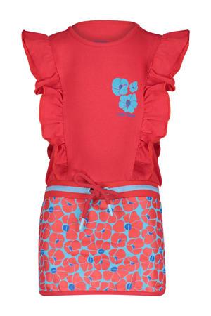jurk Sonnet met all over print en ruches rood/blauw