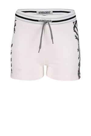 regular fit sweatshort Kassi met all over print wit/zwart