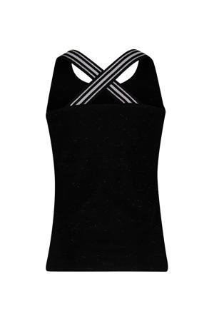 singlet Kat met printopdruk zwart/wit/zilver