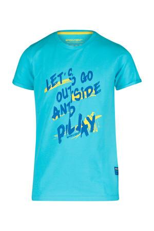T-shirt Karl met tekst aqua blauw