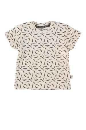 baby T-shirt Lane met all over print ecru/antraciet