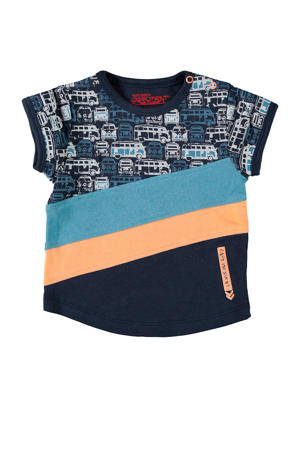 baby T-shirt Jacob met all over print donkerblauw/blauw/oranje