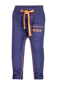 4PRESIDENT tapered fit joggingbroek Gavin met zijstreep donkerblauw/oranje, Donkerblauw/oranje