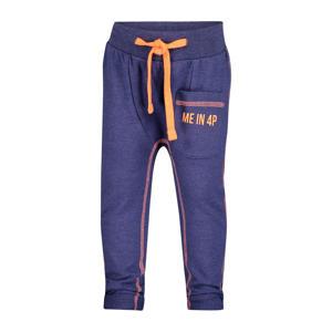 tapered fit joggingbroek Gavin met zijstreep donkerblauw/oranje